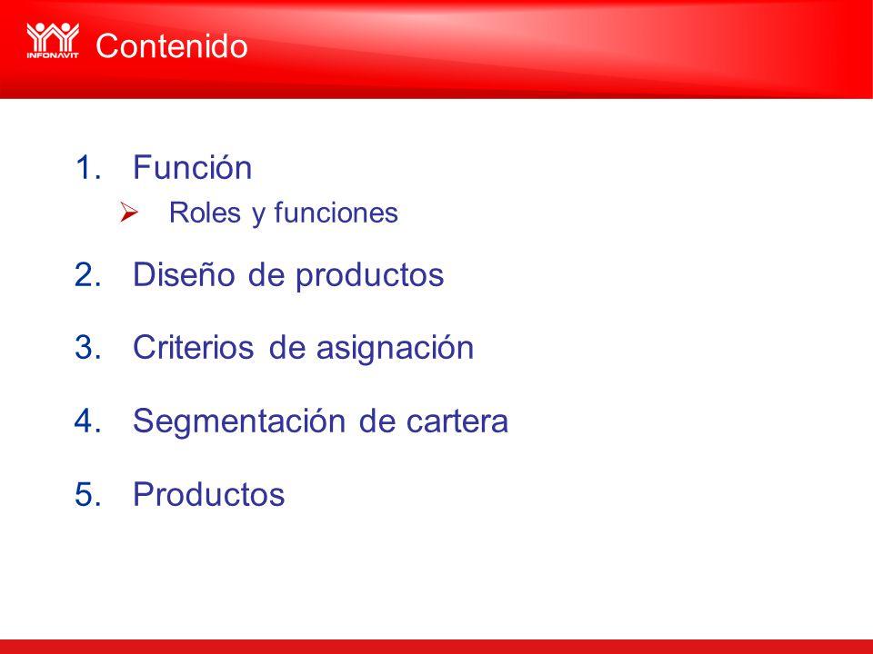 Criterios de asignación Segmentación de cartera Productos