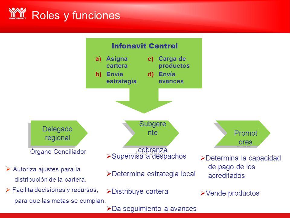 Roles y funciones Infonavit Central Promotores Delegado regional