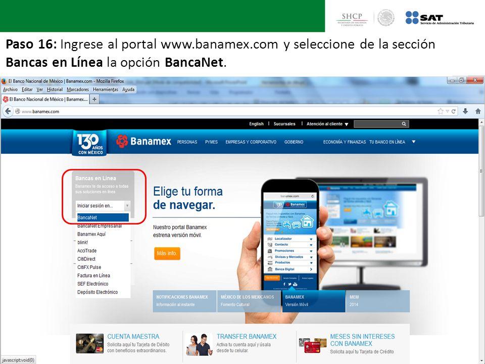 Paso 16: Ingrese al portal www. banamex