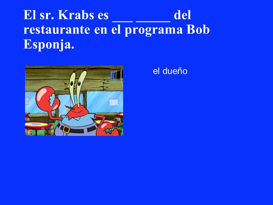 El sr. Krabs es ___ _____ del restaurante en el programa Bob Esponja.