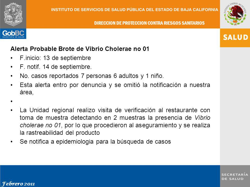Alerta Probable Brote de Vibrio Cholerae no 01