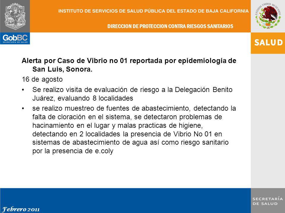 Alerta por Caso de Vibrio no 01 reportada por epidemiologia de San Luis, Sonora. 16 de agosto.