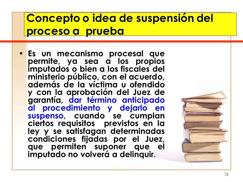 Concepto o idea de suspensión del proceso a prueba