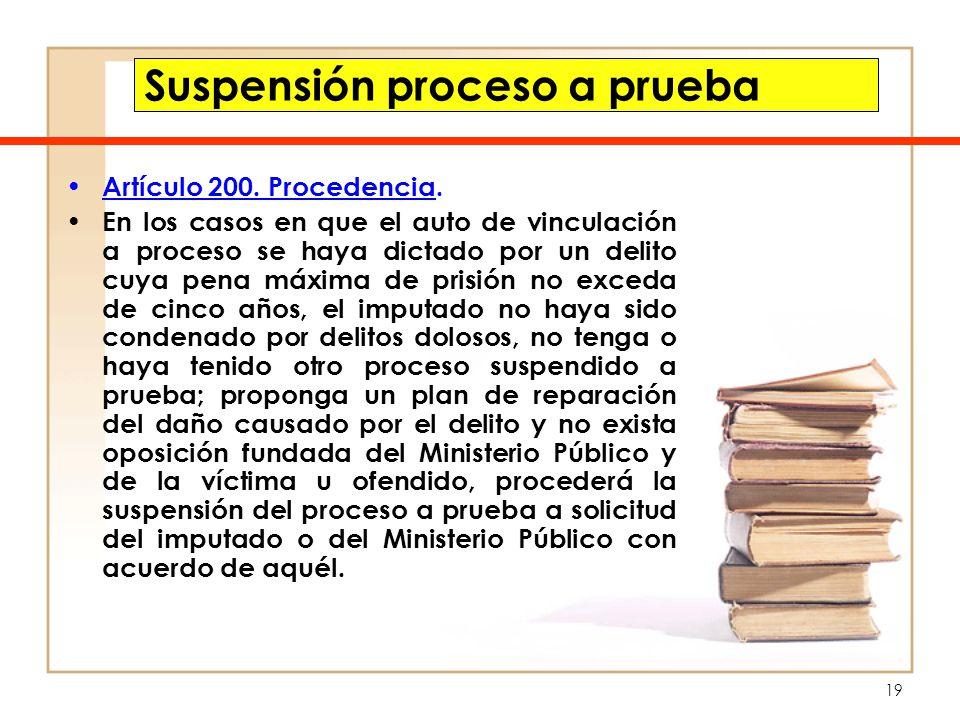 Suspensión proceso a prueba