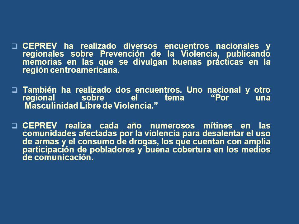 CEPREV ha realizado diversos encuentros nacionales y regionales sobre Prevención de la Violencia, publicando memorias en las que se divulgan buenas prácticas en la región centroamericana.