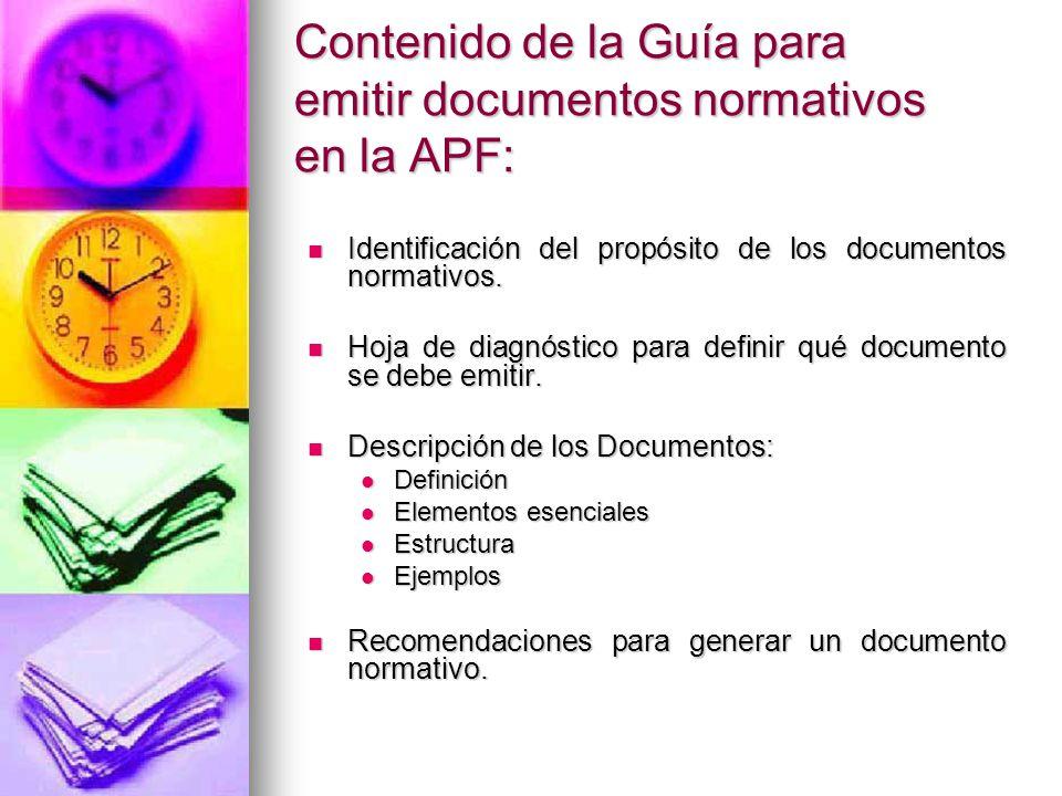 Contenido de la Guía para emitir documentos normativos en la APF: