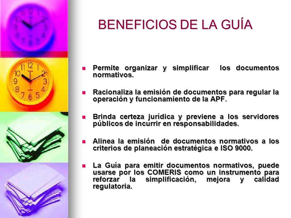 BENEFICIOS DE LA GUÍA Permite organizar y simplificar los documentos normativos.