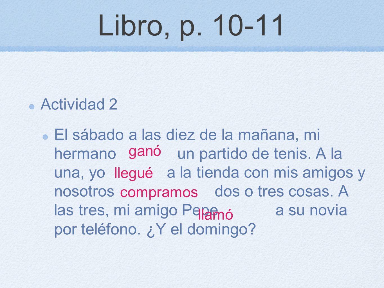 Libro, p. 10-11 Actividad 2.