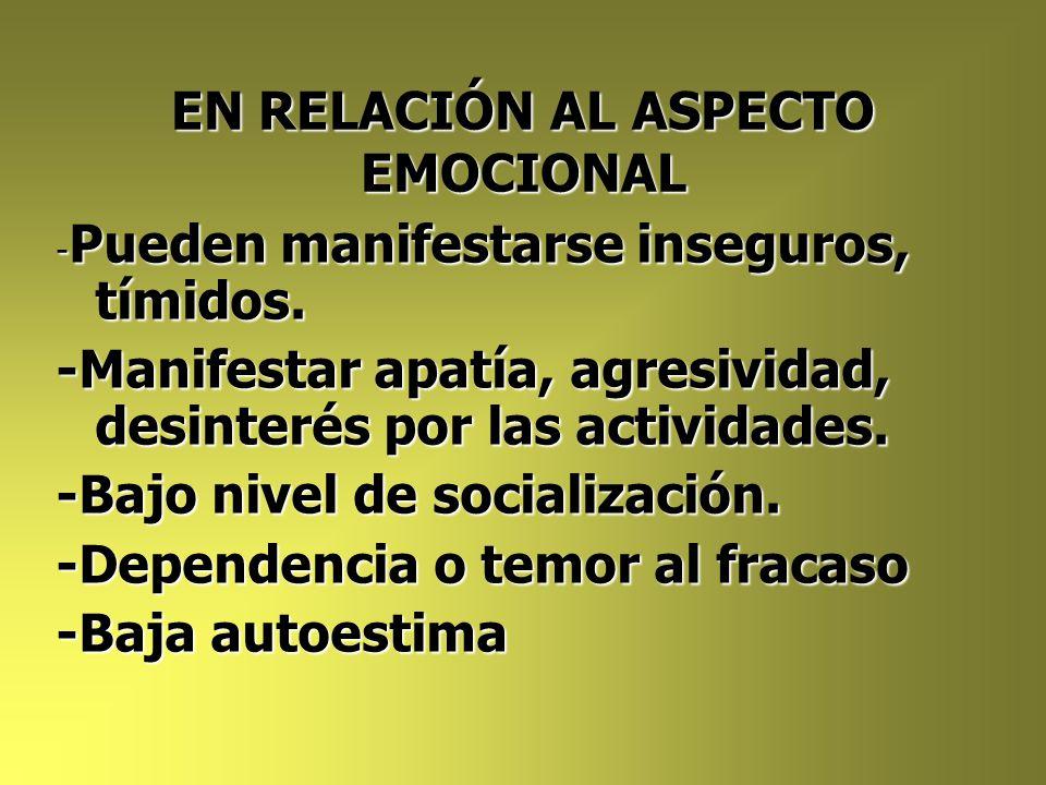 EN RELACIÓN AL ASPECTO EMOCIONAL