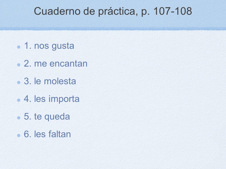 Cuaderno de práctica, p. 107-108