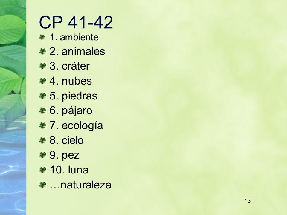 CP 41-42 2. animales 3. cráter 4. nubes 5. piedras 6. pájaro