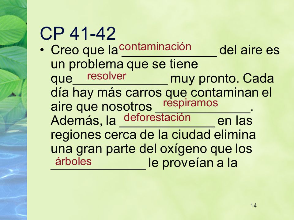 CP 41-42 contaminación.