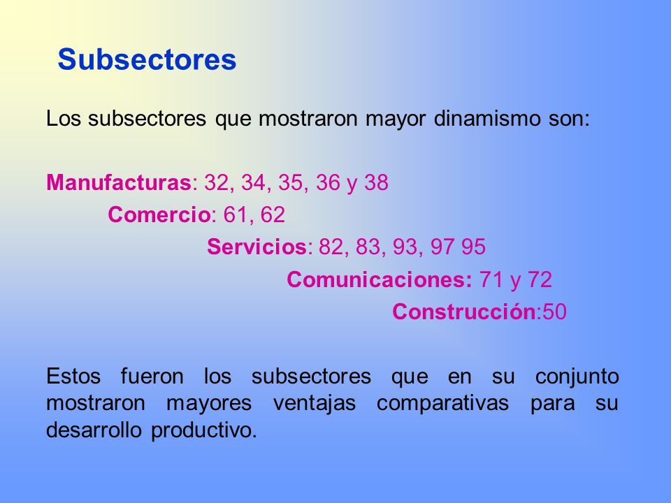 Subsectores Los subsectores que mostraron mayor dinamismo son: