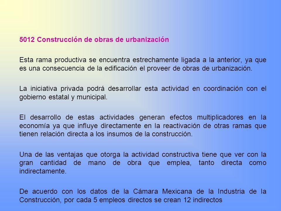 5012 Construcción de obras de urbanización