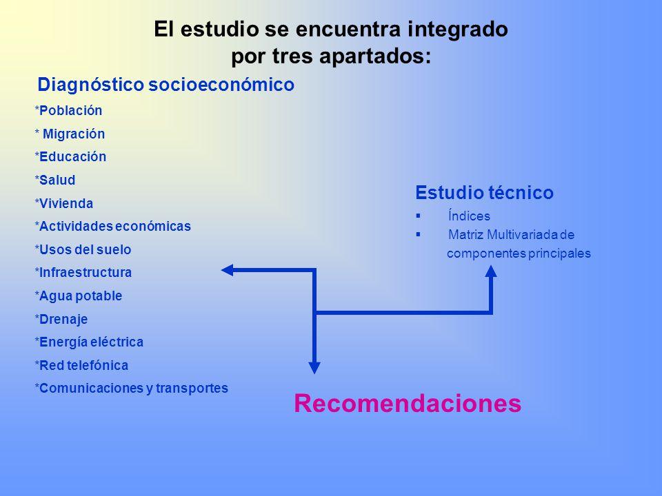 El estudio se encuentra integrado por tres apartados:
