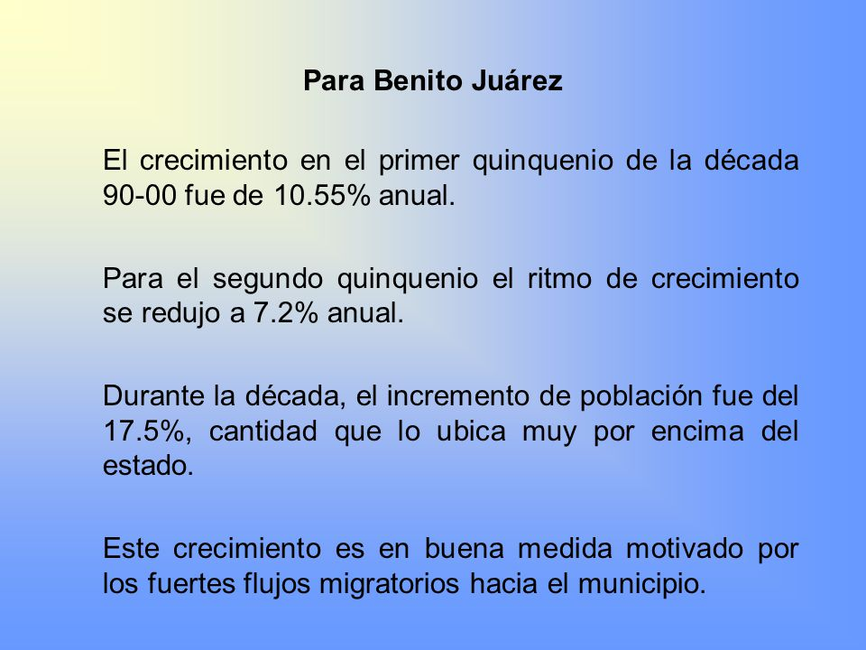 Para Benito Juárez El crecimiento en el primer quinquenio de la década 90-00 fue de 10.55% anual.