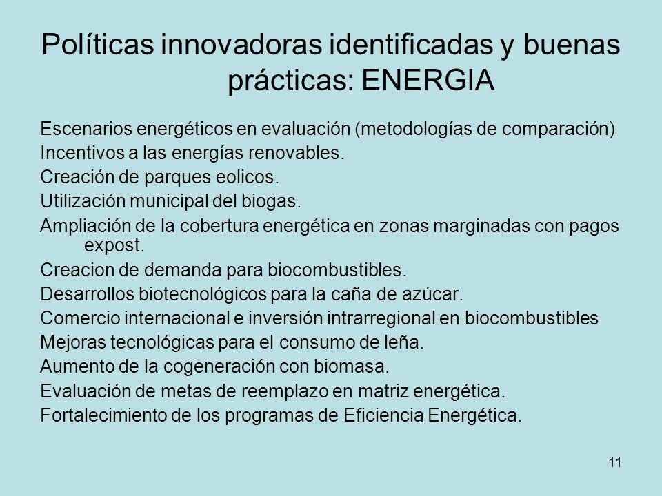 Políticas innovadoras identificadas y buenas prácticas: ENERGIA