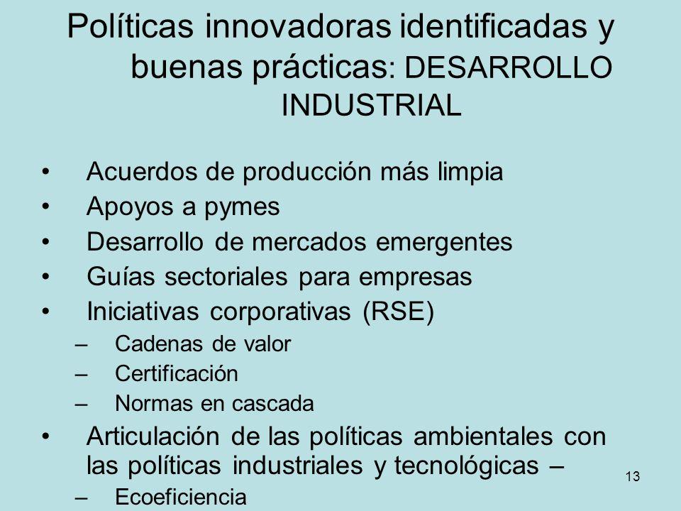 Políticas innovadoras identificadas y buenas prácticas: DESARROLLO INDUSTRIAL