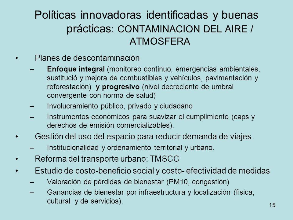 Políticas innovadoras identificadas y buenas prácticas: CONTAMINACION DEL AIRE / ATMOSFERA