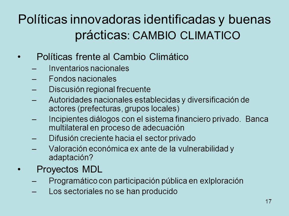 Políticas innovadoras identificadas y buenas prácticas: CAMBIO CLIMATICO