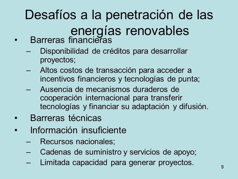 Desafíos a la penetración de las energías renovables