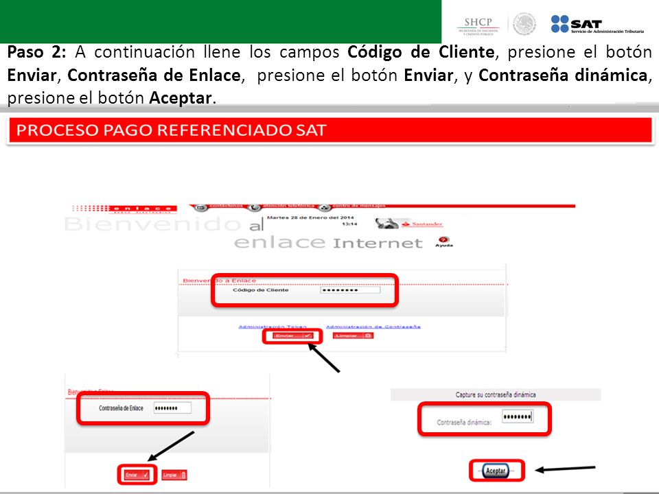 Paso 2: A continuación llene los campos Código de Cliente, presione el botón Enviar, Contraseña de Enlace, presione el botón Enviar, y Contraseña dinámica, presione el botón Aceptar.