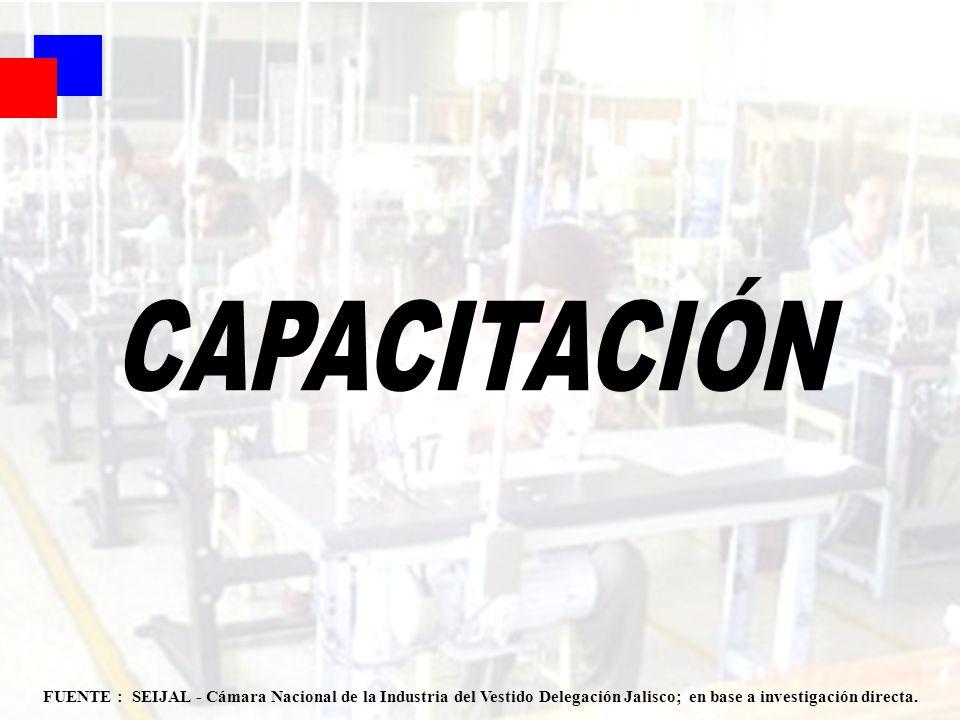 CAPACITACIÓN FUENTE : SEIJAL - Cámara Nacional de la Industria del Vestido Delegación Jalisco; en base a investigación directa.