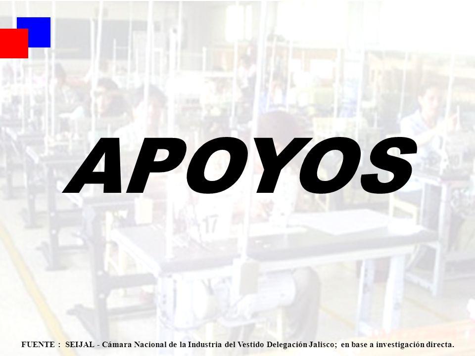 APOYOS FUENTE : SEIJAL - Cámara Nacional de la Industria del Vestido Delegación Jalisco; en base a investigación directa.