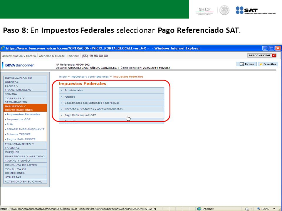 Paso 8: En Impuestos Federales seleccionar Pago Referenciado SAT.