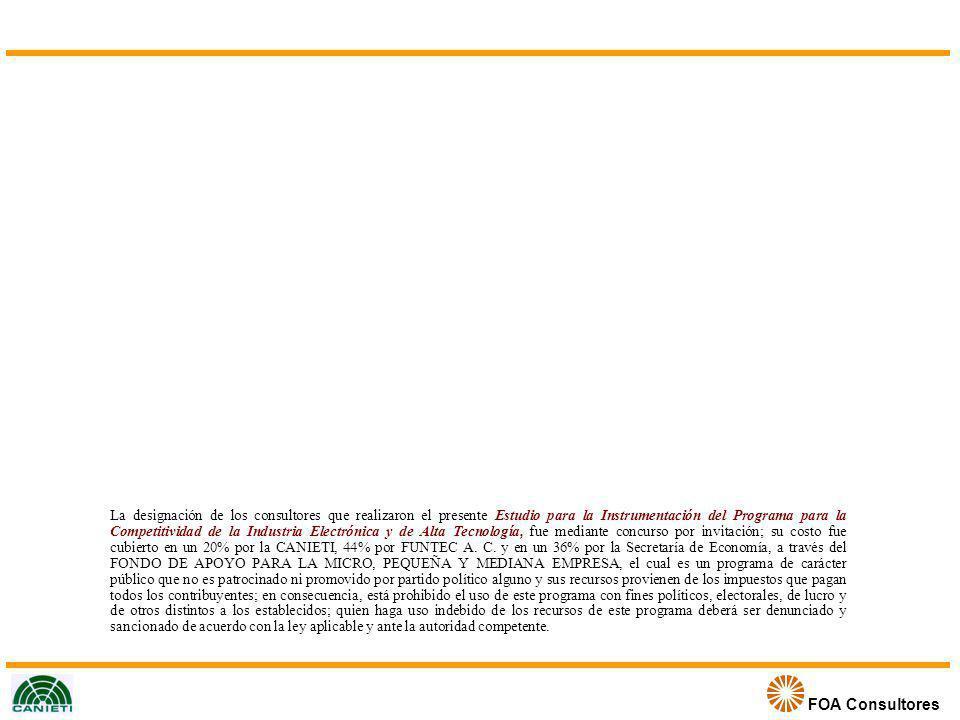 La designación de los consultores que realizaron el presente Estudio para la Instrumentación del Programa para la Competitividad de la Industria Electrónica y de Alta Tecnología, fue mediante concurso por invitación; su costo fue cubierto en un 20% por la CANIETI, 44% por FUNTEC A.