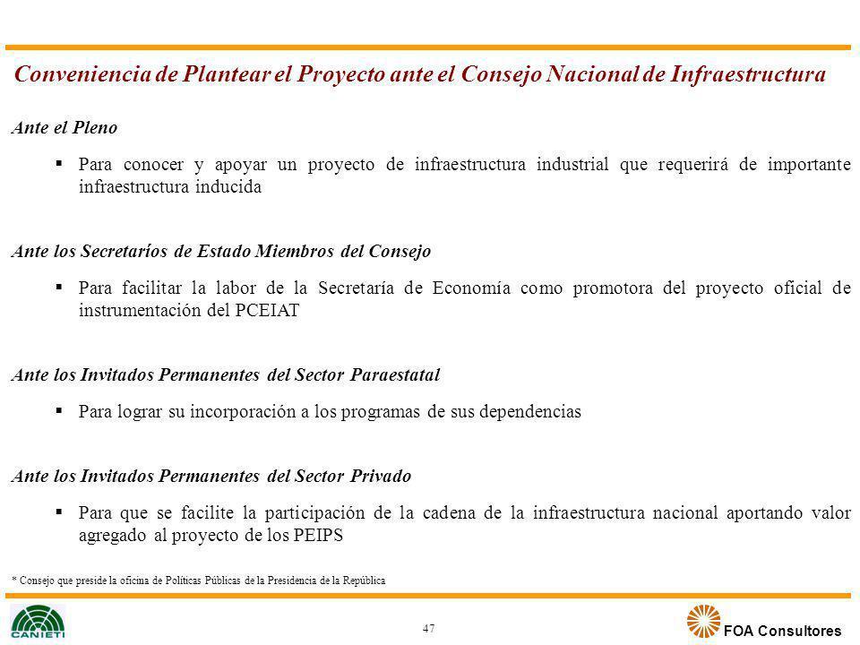Conveniencia de Plantear el Proyecto ante el Consejo Nacional de Infraestructura