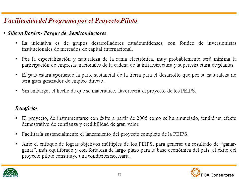 Facilitación del Programa por el Proyecto Piloto