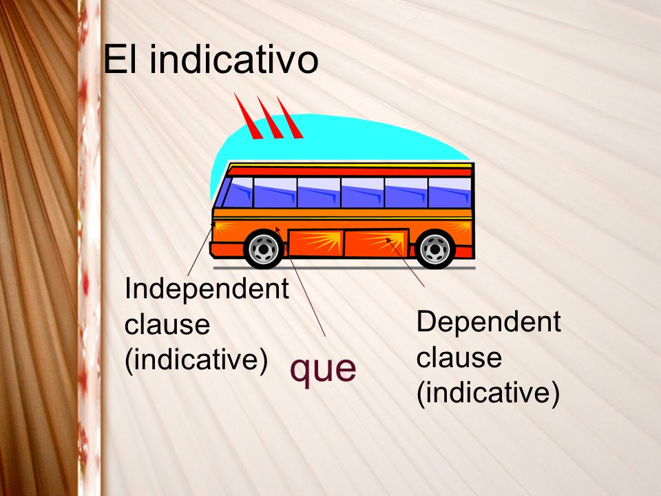 El indicativo que Independent clause (indicative)