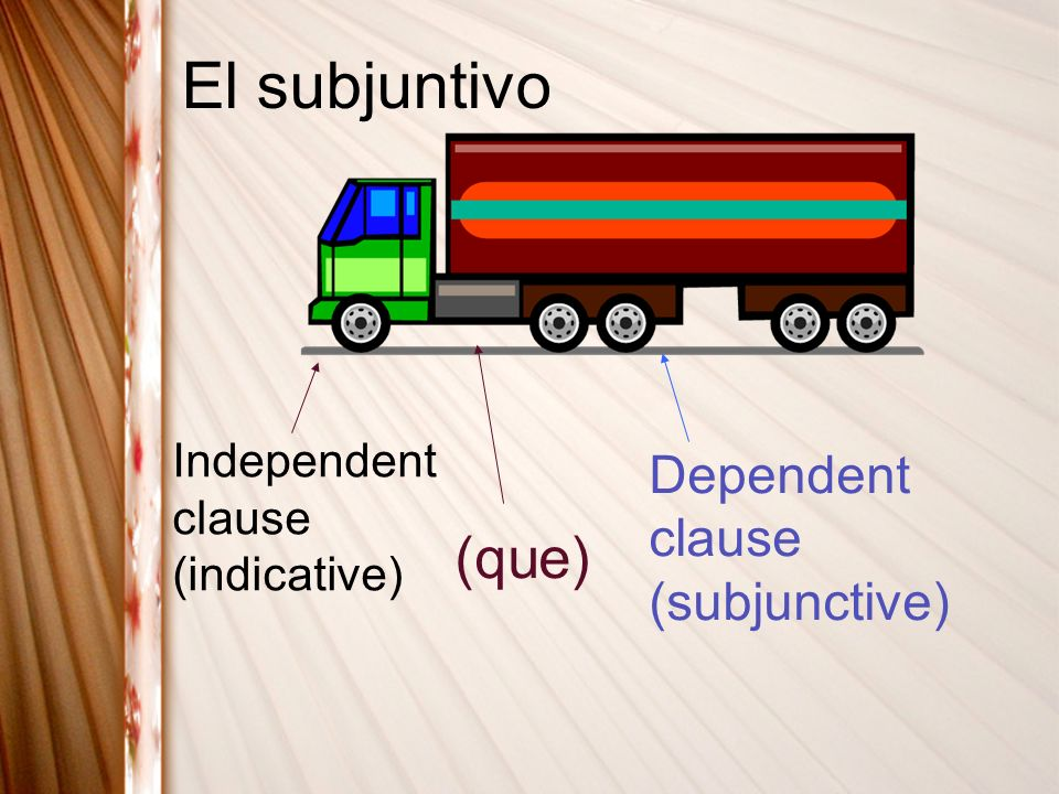 El subjuntivo (que) Dependent clause (subjunctive)