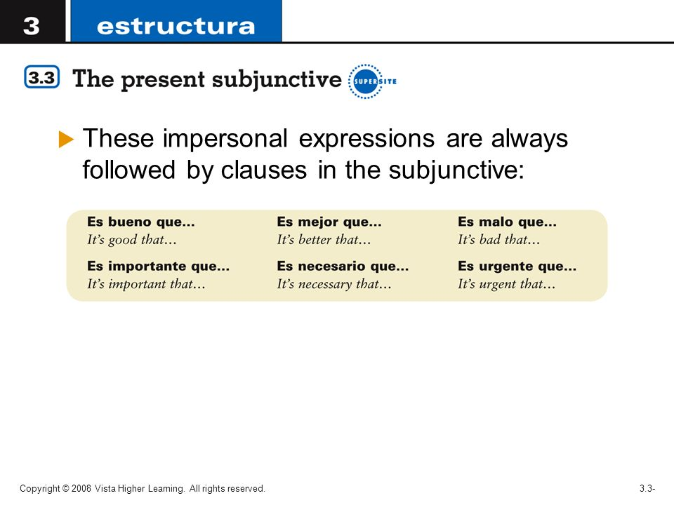 These impersonal expressions are always followed by clauses in the subjunctive: