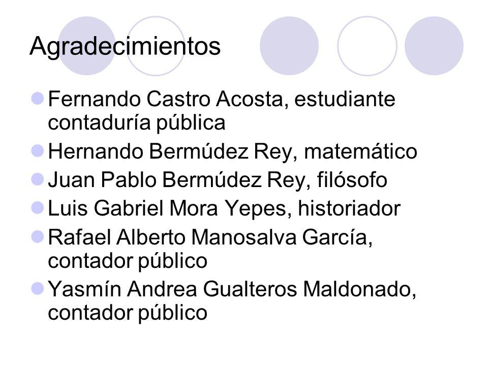 Agradecimientos Fernando Castro Acosta, estudiante contaduría pública
