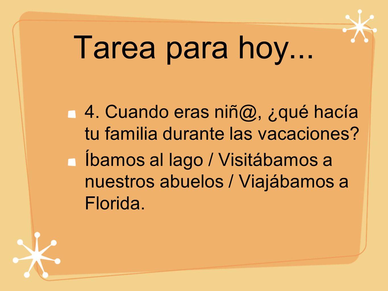 Tarea para hoy... 4. Cuando eras niñ@, ¿qué hacía tu familia durante las vacaciones