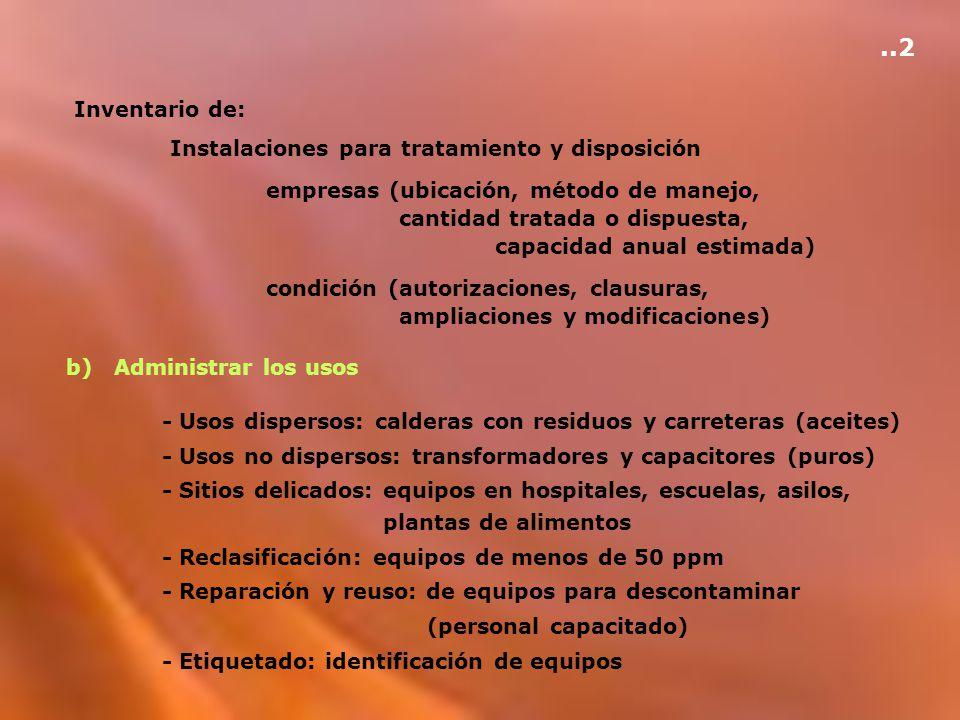 ..2 Inventario de: Instalaciones para tratamiento y disposición