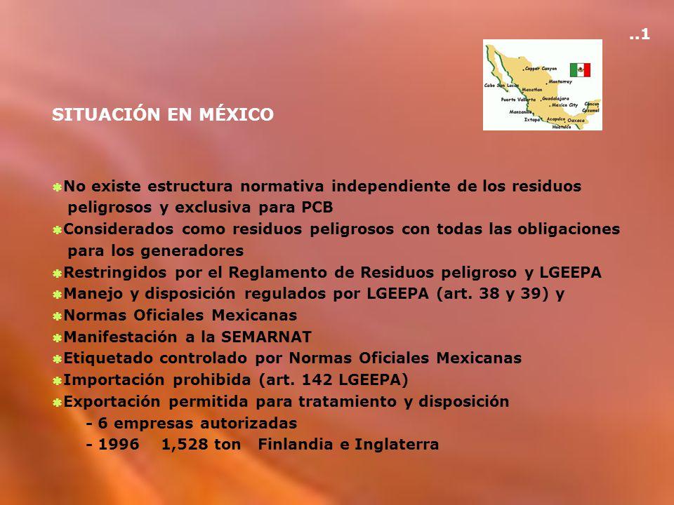 ..1 SITUACIÓN EN MÉXICO. No existe estructura normativa independiente de los residuos. peligrosos y exclusiva para PCB.