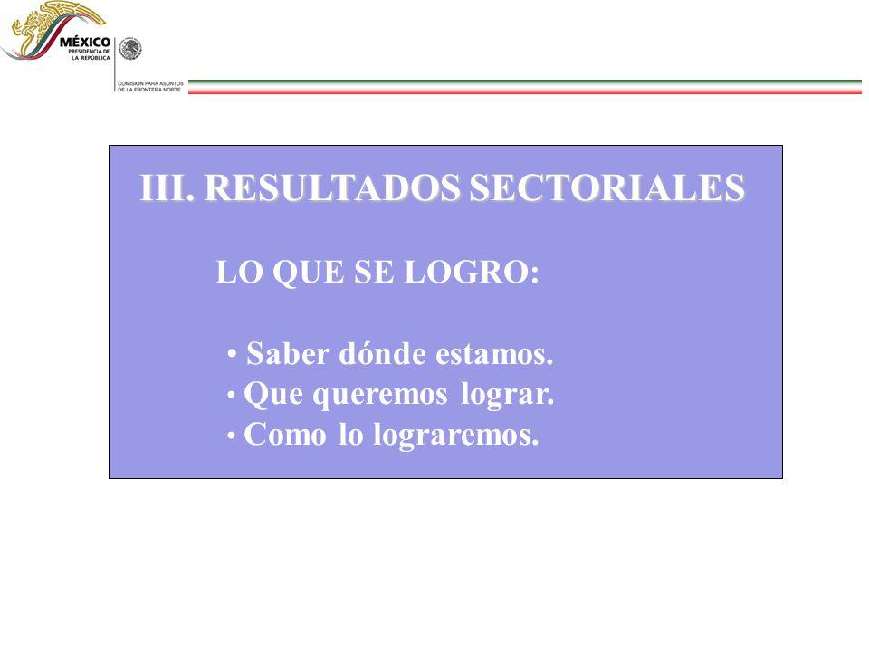 III. RESULTADOS SECTORIALES