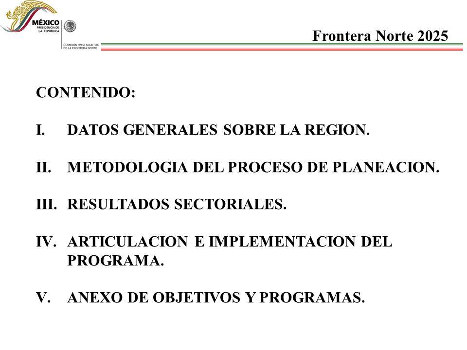 Frontera Norte 2025 CONTENIDO: DATOS GENERALES SOBRE LA REGION. METODOLOGIA DEL PROCESO DE PLANEACION.