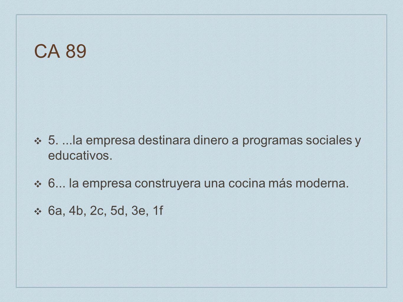 CA 89 5. ...la empresa destinara dinero a programas sociales y educativos. 6... la empresa construyera una cocina más moderna.