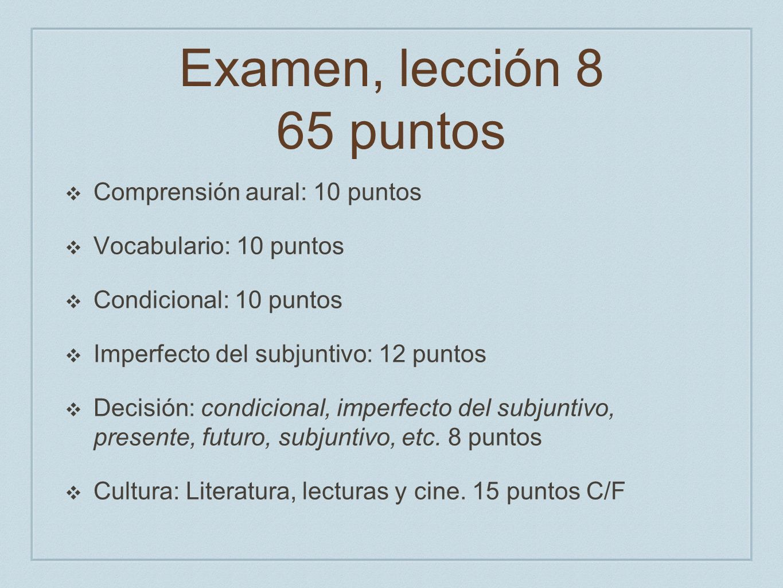 Examen, lección 8 65 puntos Comprensión aural: 10 puntos