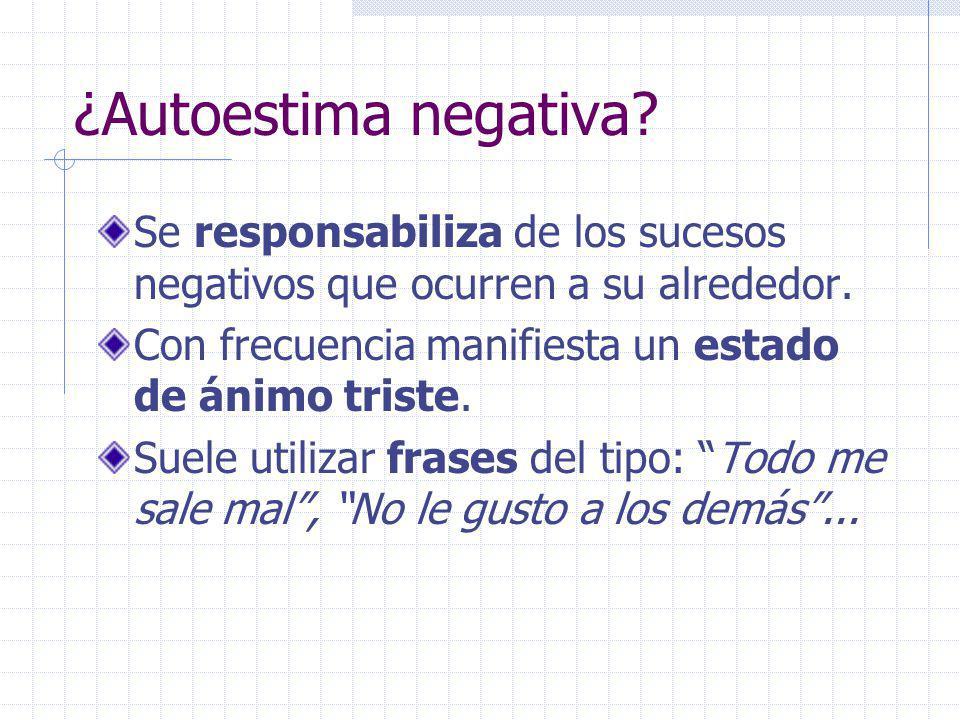 ¿Autoestima negativa Se responsabiliza de los sucesos negativos que ocurren a su alrededor. Con frecuencia manifiesta un estado de ánimo triste.
