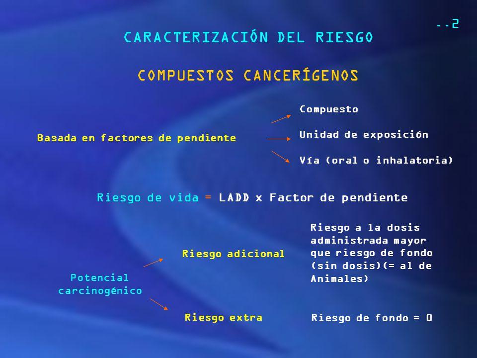 CARACTERIZACIÓN DEL RIESGO COMPUESTOS CANCERÍGENOS