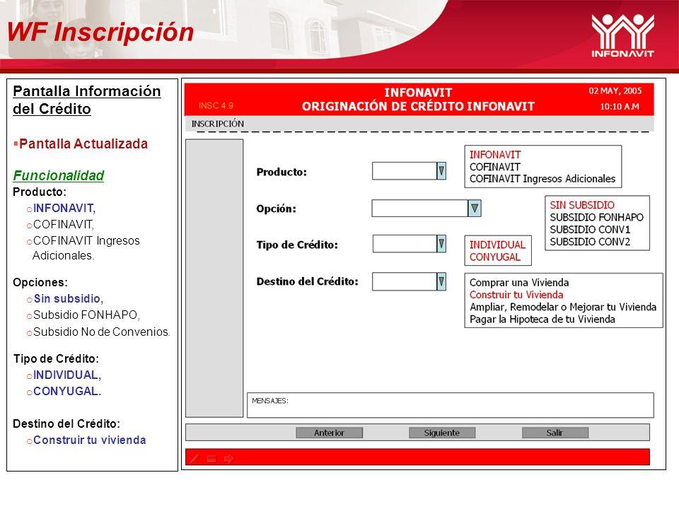 WF Inscripción Pantalla Información del Crédito Pantalla Actualizada