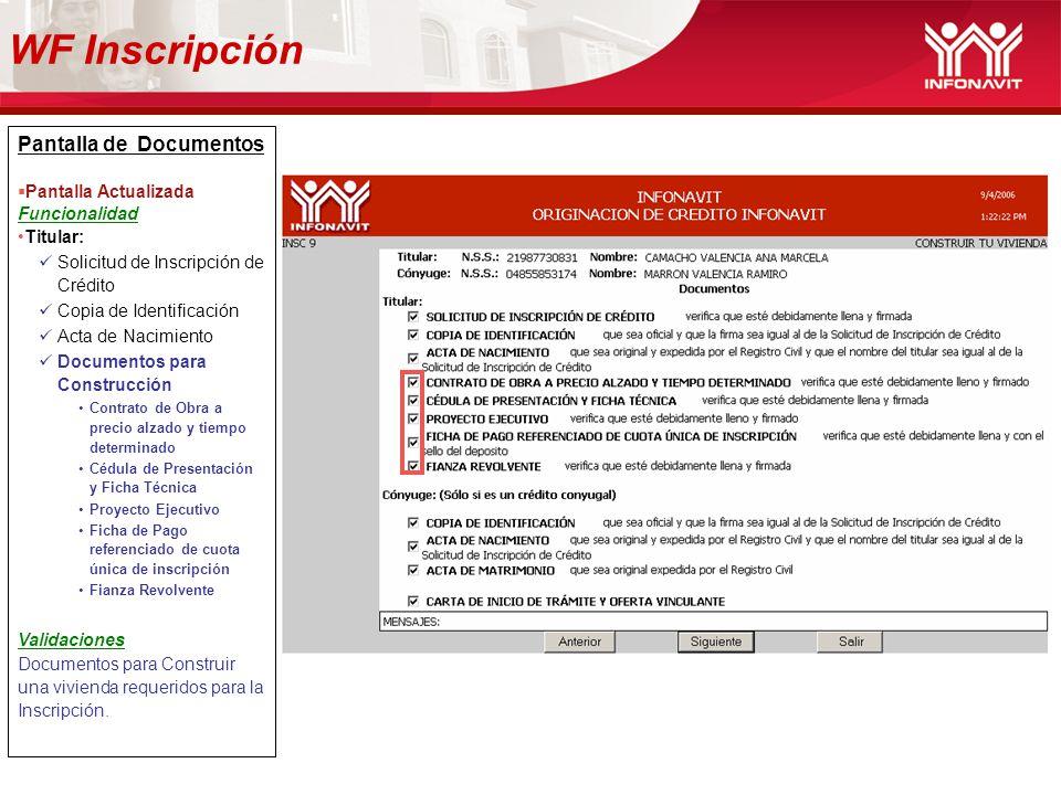 WF Inscripción Pantalla de Documentos Pantalla Actualizada