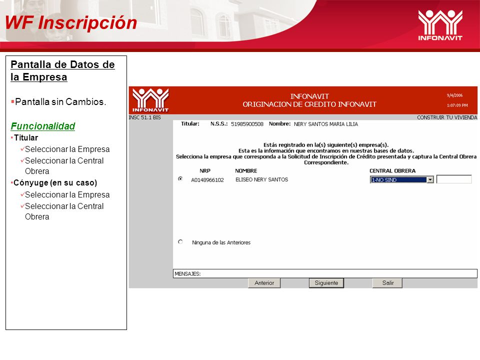WF Inscripción Pantalla de Datos de la Empresa Pantalla sin Cambios.