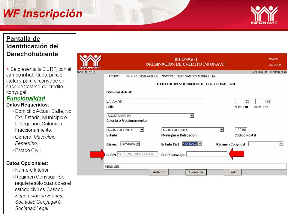 WF Inscripción Pantalla de Identificación del Derechohabiente