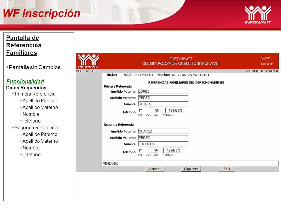 WF Inscripción Pantalla de Referencias Familiares